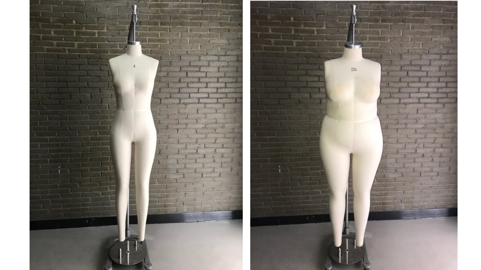 On the left, a regular size tailor's dummy against a brick wall. On the right, a plus-size mannequin in front of a brick wall.